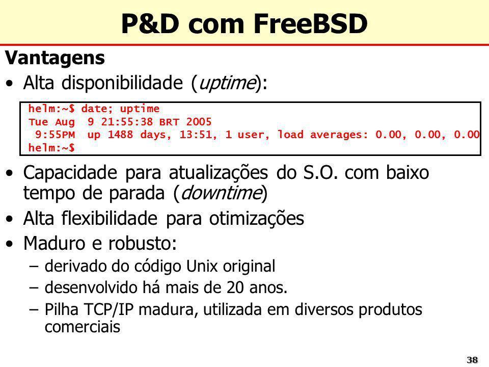 P&D com FreeBSD Vantagens Alta disponibilidade (uptime):