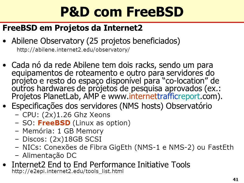 P&D com FreeBSD FreeBSD em Projetos da Internet2