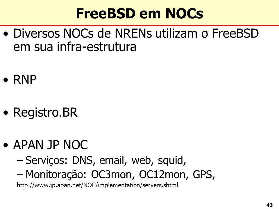 FreeBSD em NOCsDiversos NOCs de NRENs utilizam o FreeBSD em sua infra-estrutura. RNP. Registro.BR. APAN JP NOC.