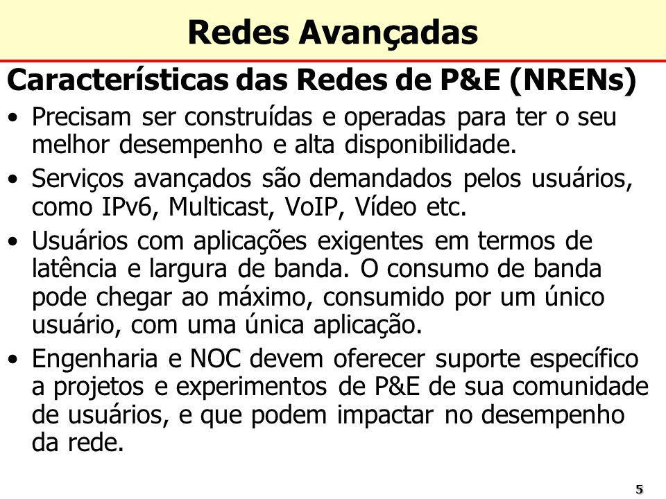 Redes Avançadas Características das Redes de P&E (NRENs)
