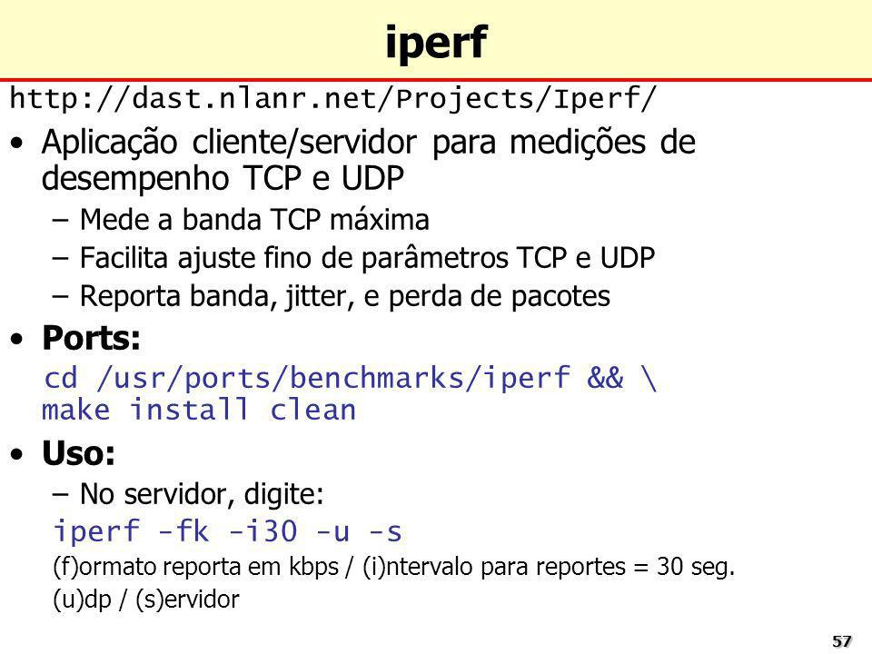iperf Aplicação cliente/servidor para medições de desempenho TCP e UDP