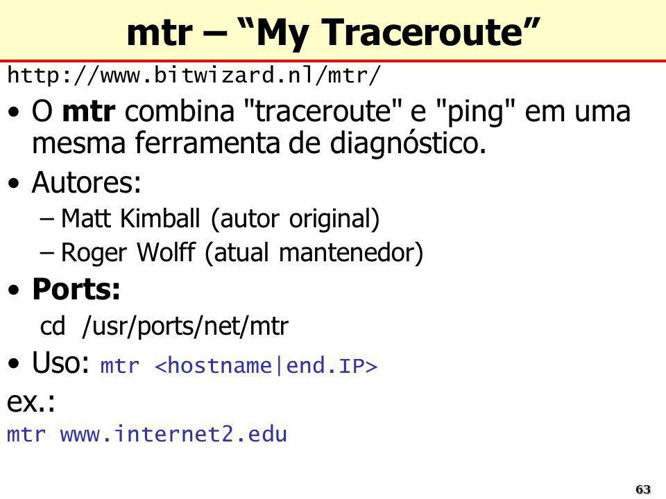 mtr – My Traceroute http://www.bitwizard.nl/mtr/ O mtr combina traceroute e ping em uma mesma ferramenta de diagnóstico.