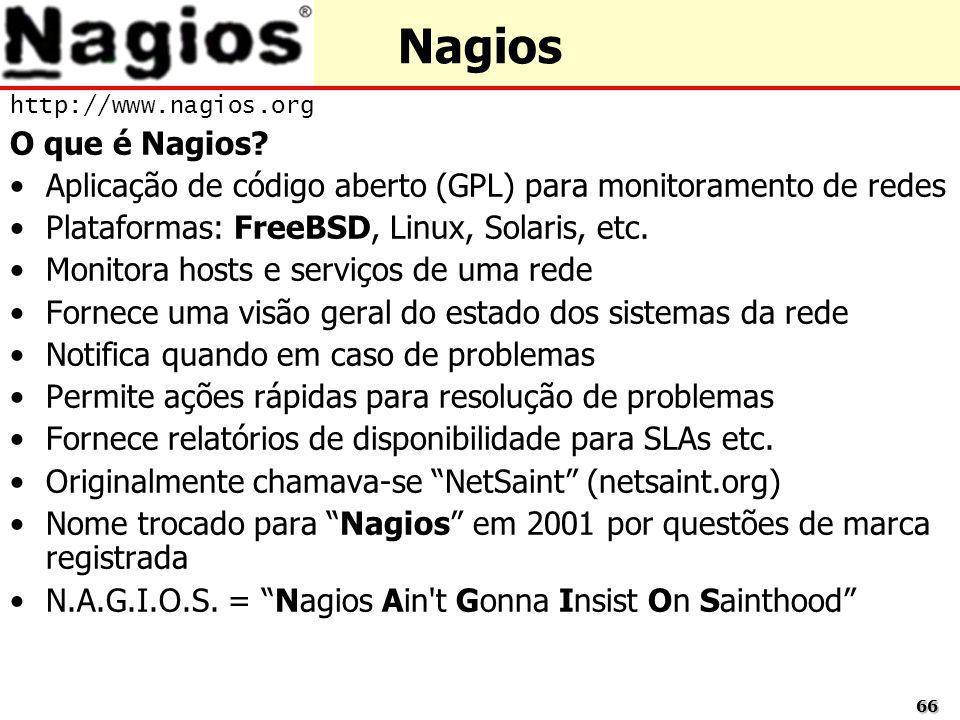 Nagios http://www.nagios.org. O que é Nagios Aplicação de código aberto (GPL) para monitoramento de redes.