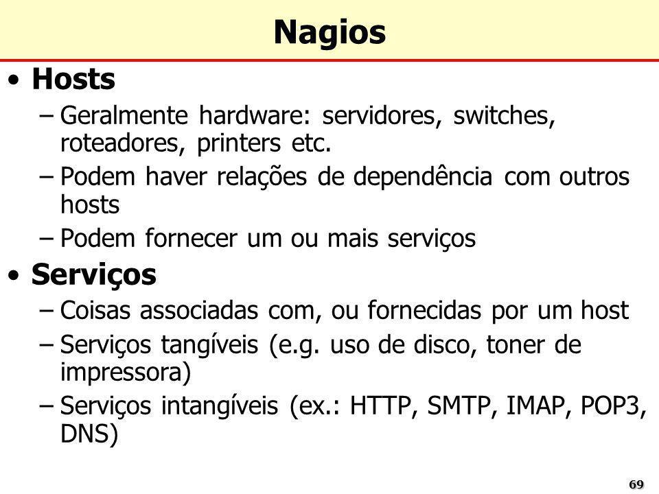 Nagios Hosts. Geralmente hardware: servidores, switches, roteadores, printers etc. Podem haver relações de dependência com outros hosts.