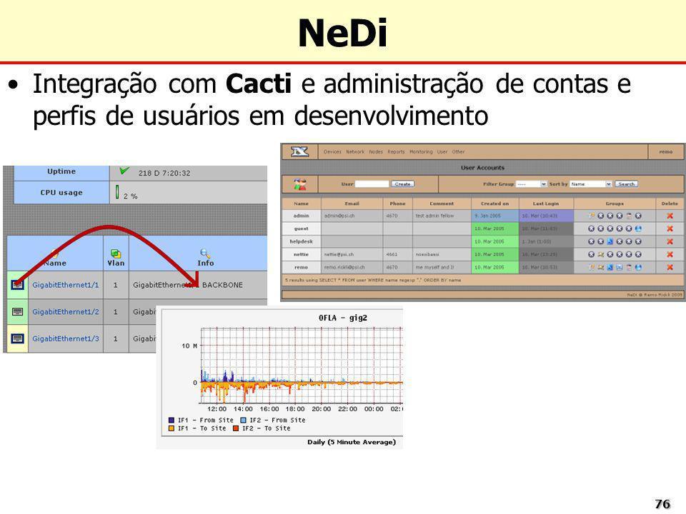 NeDi Integração com Cacti e administração de contas e perfis de usuários em desenvolvimento