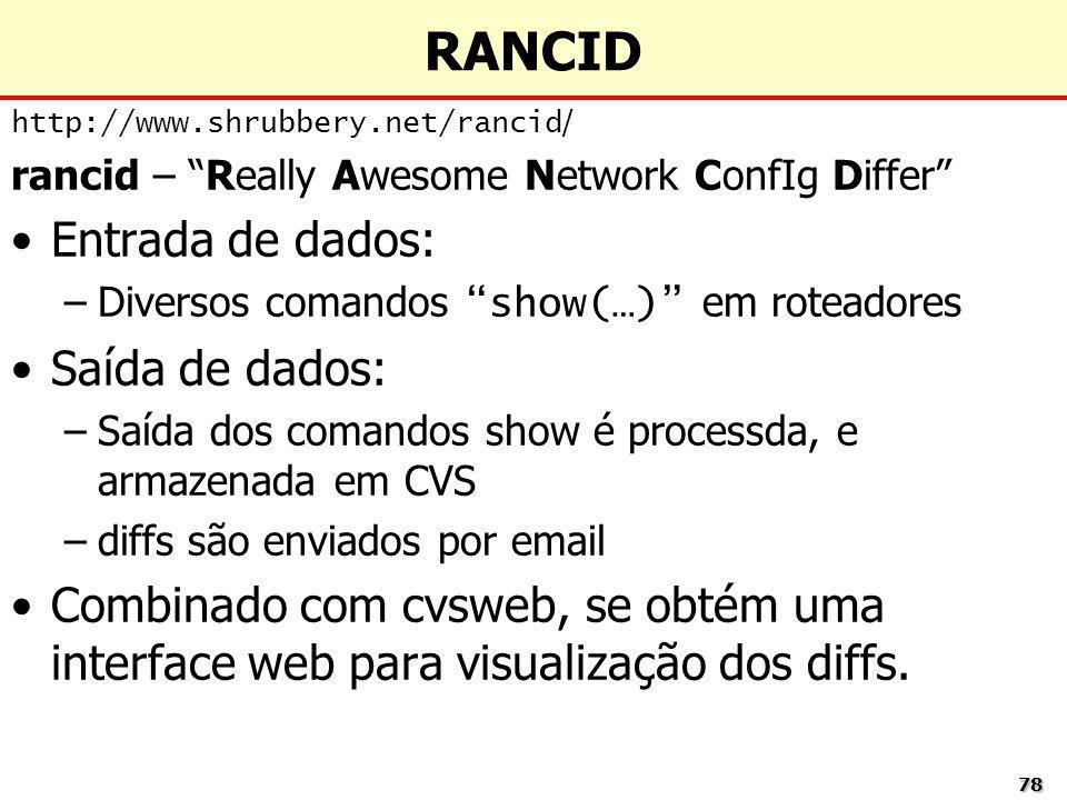 RANCID Entrada de dados: Saída de dados: