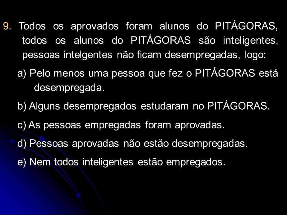 9. Todos os aprovados foram alunos do PITÁGORAS, todos os alunos do PITÁGORAS são inteligentes, pessoas intelgentes não ficam desempregadas, logo: