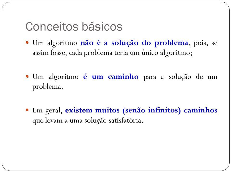 Conceitos básicos Um algoritmo não é a solução do problema, pois, se assim fosse, cada problema teria um único algoritmo;