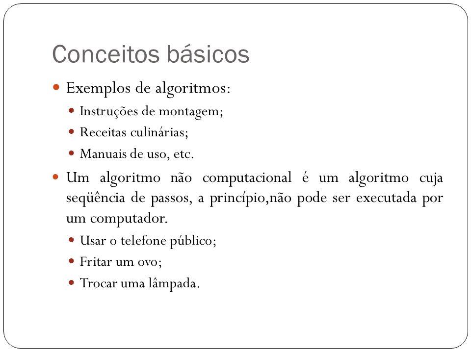 Conceitos básicos Exemplos de algoritmos:
