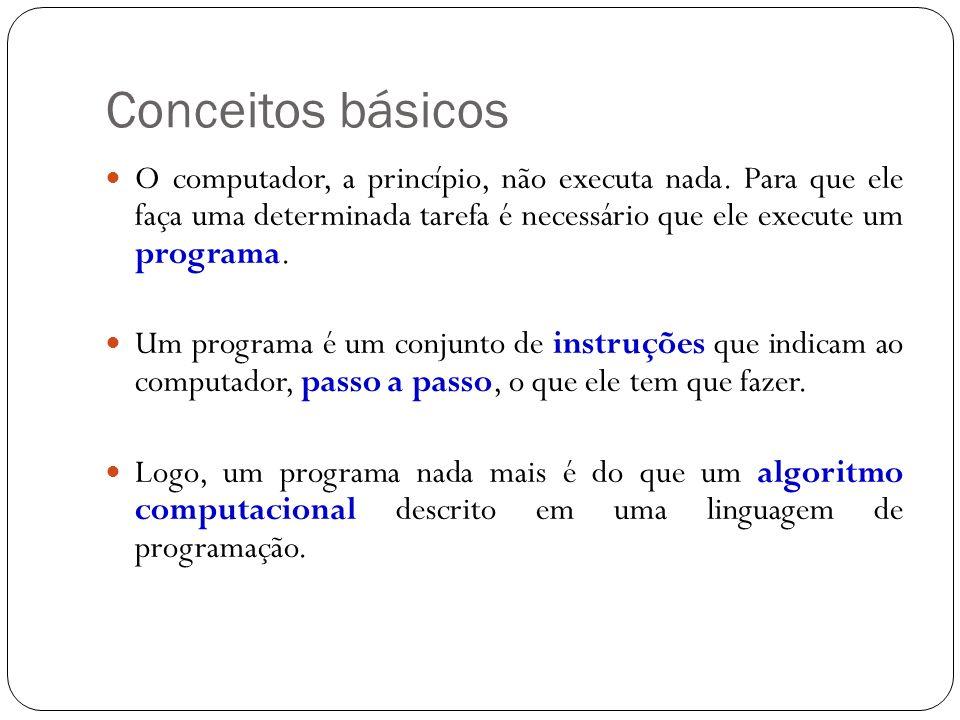Conceitos básicos O computador, a princípio, não executa nada. Para que ele faça uma determinada tarefa é necessário que ele execute um programa.
