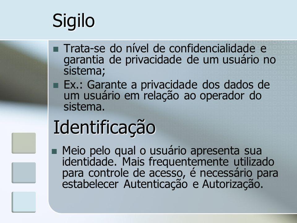 SigiloTrata-se do nível de confidencialidade e garantia de privacidade de um usuário no sistema;