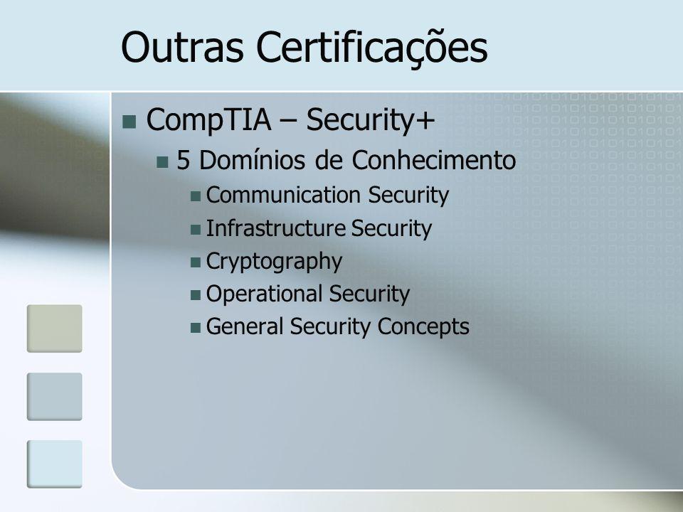 Outras Certificações CompTIA – Security+ 5 Domínios de Conhecimento
