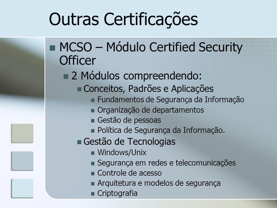 Outras Certificações MCSO – Módulo Certified Security Officer