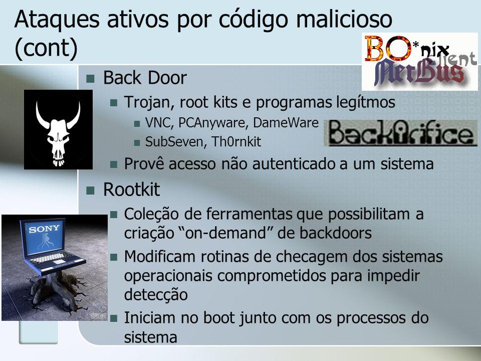 Ataques ativos por código malicioso (cont)