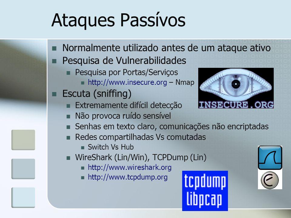 Ataques Passívos Normalmente utilizado antes de um ataque ativo