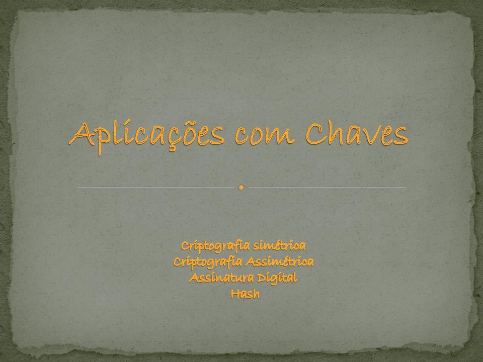 Aplicações com Chaves Criptografia simétrica Criptografia Assimétrica Assinatura Digital Hash