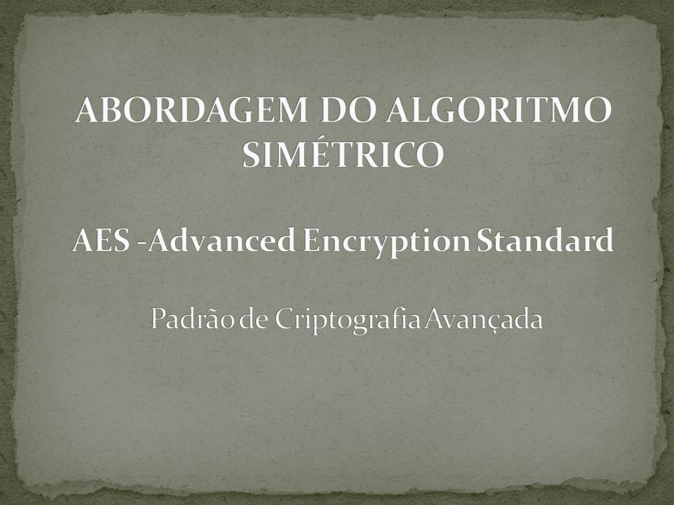 ABORDAGEM DO ALGORITMO SIMÉTRICO AES -Advanced Encryption Standard Padrão de Criptografia Avançada