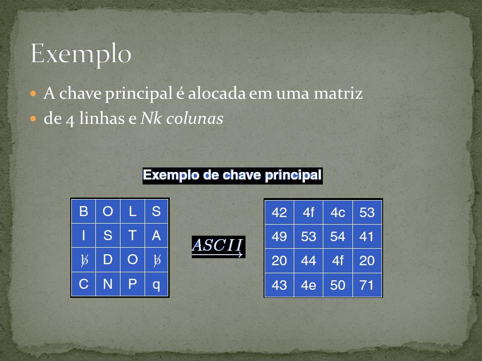 Exemplo A chave principal é alocada em uma matriz