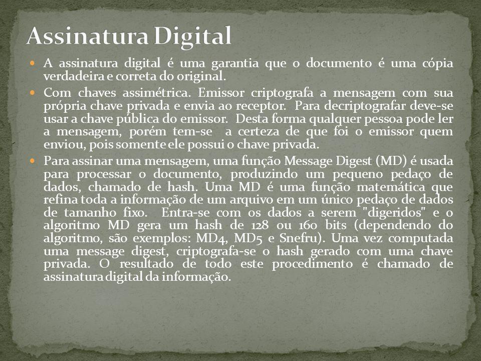 Assinatura Digital A assinatura digital é uma garantia que o documento é uma cópia verdadeira e correta do original.