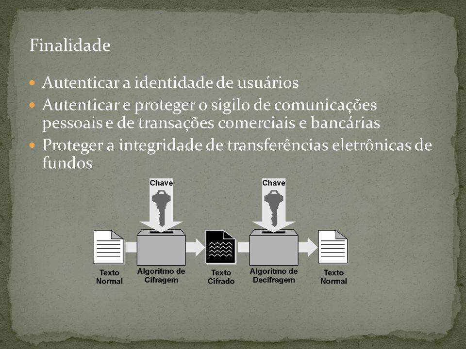 Finalidade Autenticar a identidade de usuários. Autenticar e proteger o sigilo de comunicações pessoais e de transações comerciais e bancárias.