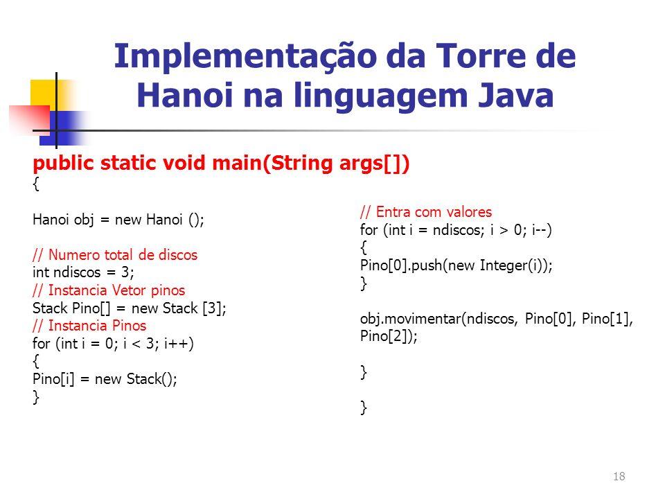 Implementação da Torre de Hanoi na linguagem Java