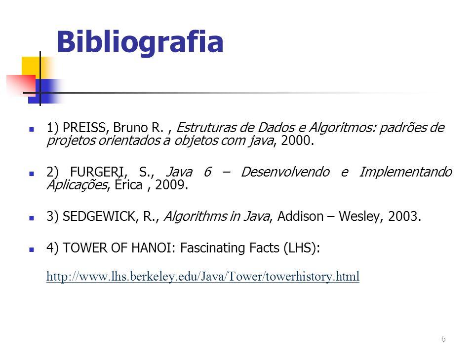Bibliografia 1) PREISS, Bruno R. , Estruturas de Dados e Algoritmos: padrões de projetos orientados a objetos com java, 2000.