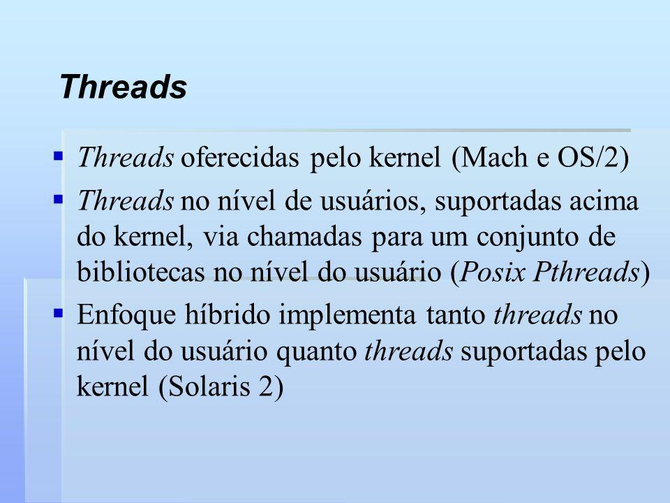 Threads Threads oferecidas pelo kernel (Mach e OS/2)