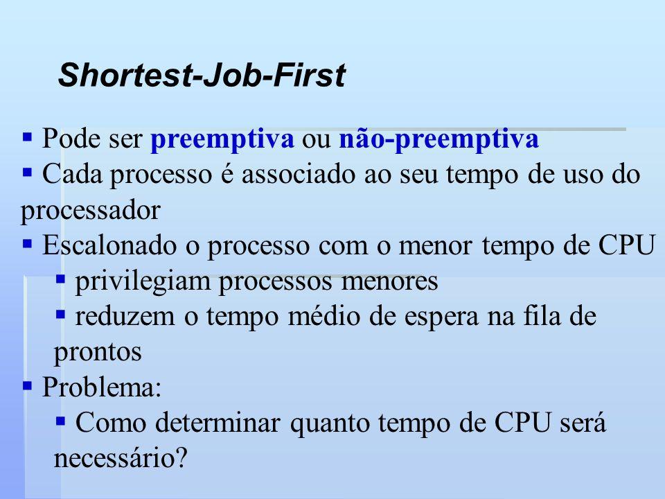 Shortest-Job-First Pode ser preemptiva ou não-preemptiva