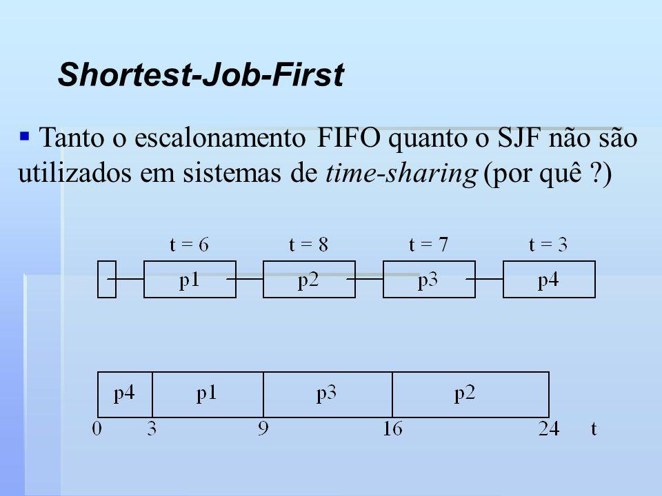 Shortest-Job-First Tanto o escalonamento FIFO quanto o SJF não são utilizados em sistemas de time-sharing (por quê )