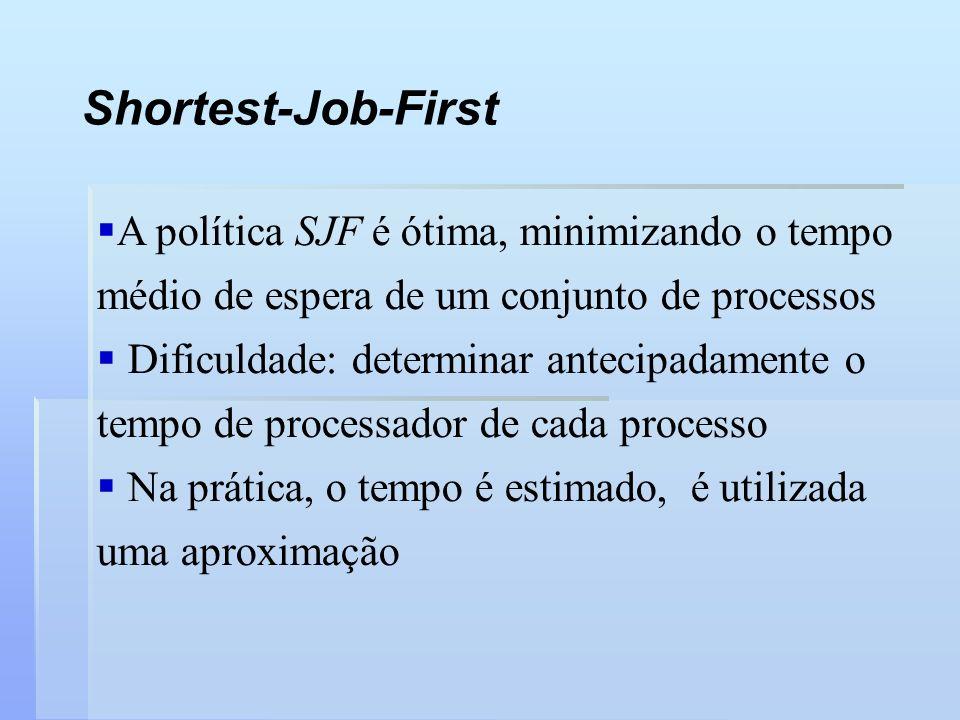 Shortest-Job-First A política SJF é ótima, minimizando o tempo médio de espera de um conjunto de processos.