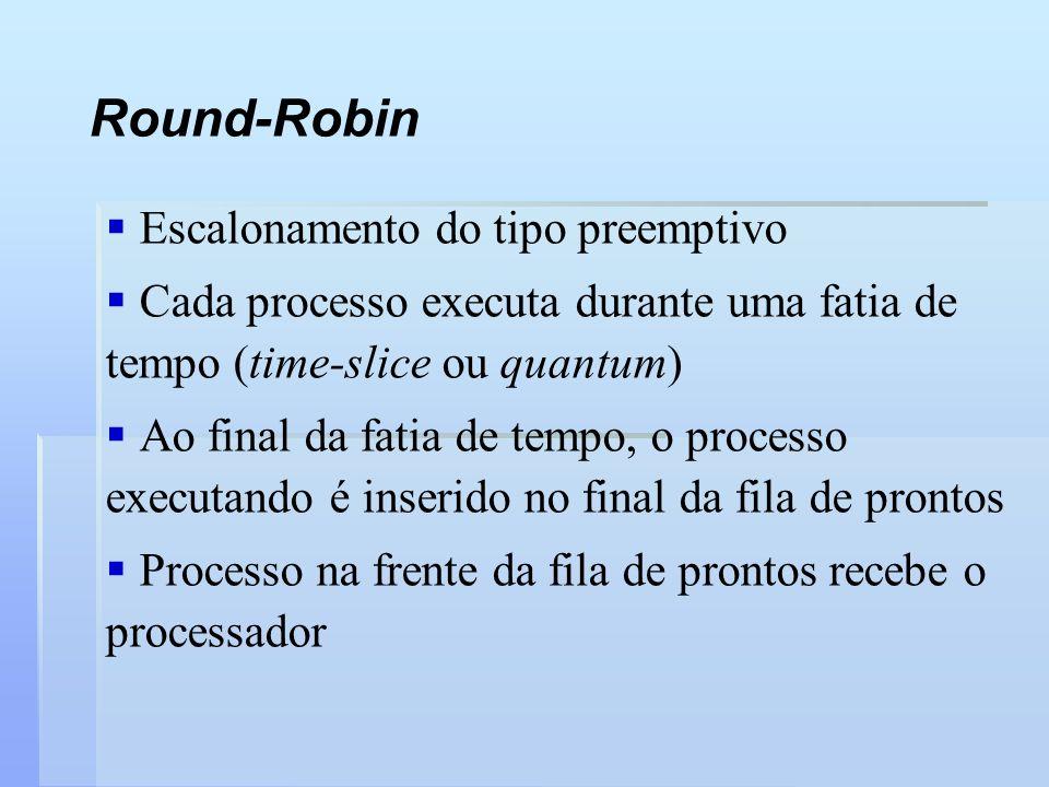 Round-Robin Escalonamento do tipo preemptivo