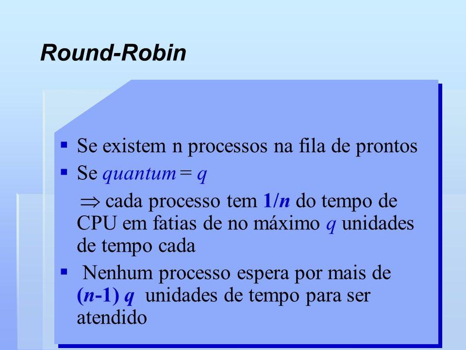 Round-Robin Se existem n processos na fila de prontos Se quantum = q