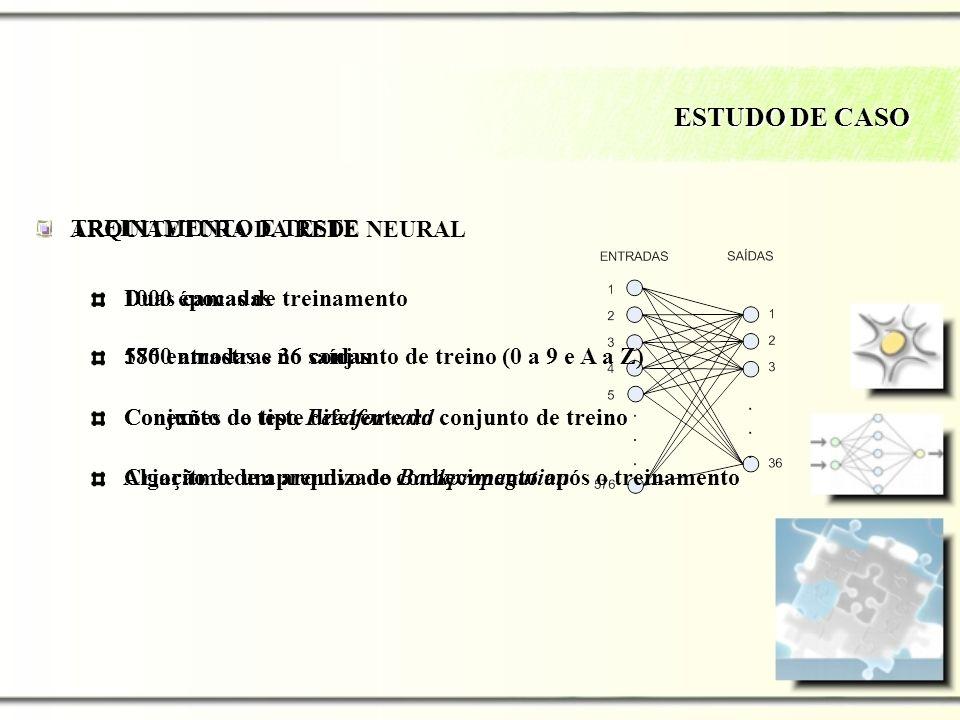 ESTUDO DE CASO TREINAMENTO E TESTE ARQUITETURA DA REDE NEURAL