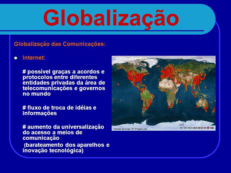 Globalização Globalização das Comunicações: Internet:
