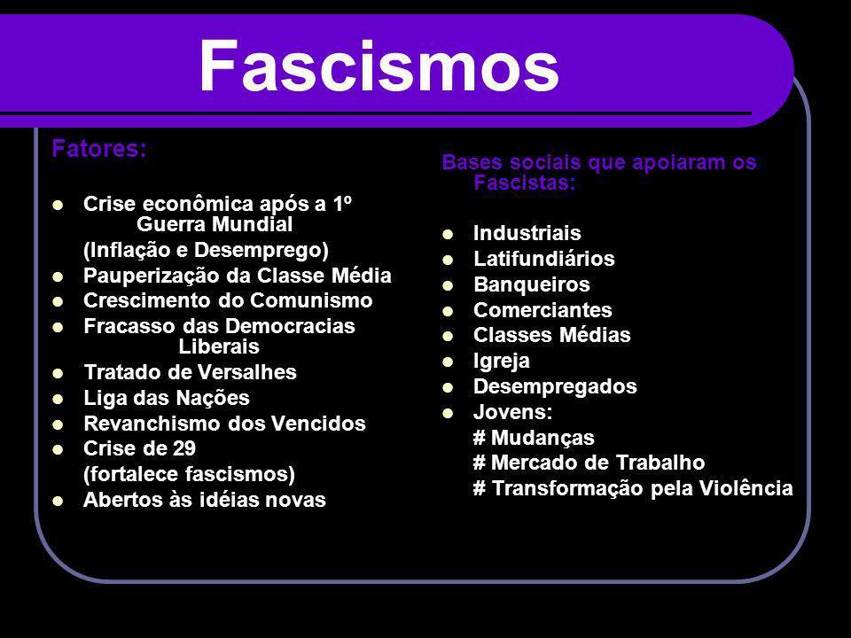 Fascismos Fatores: Bases sociais que apoiaram os Fascistas: