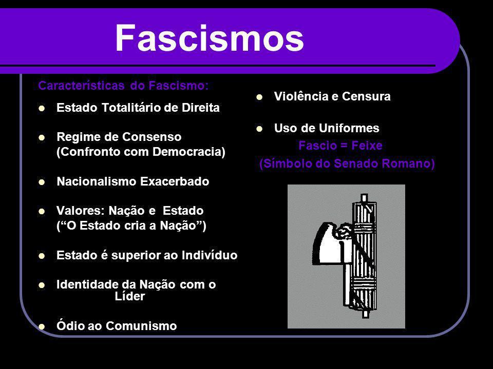 Fascismos Características do Fascismo: Estado Totalitário de Direita