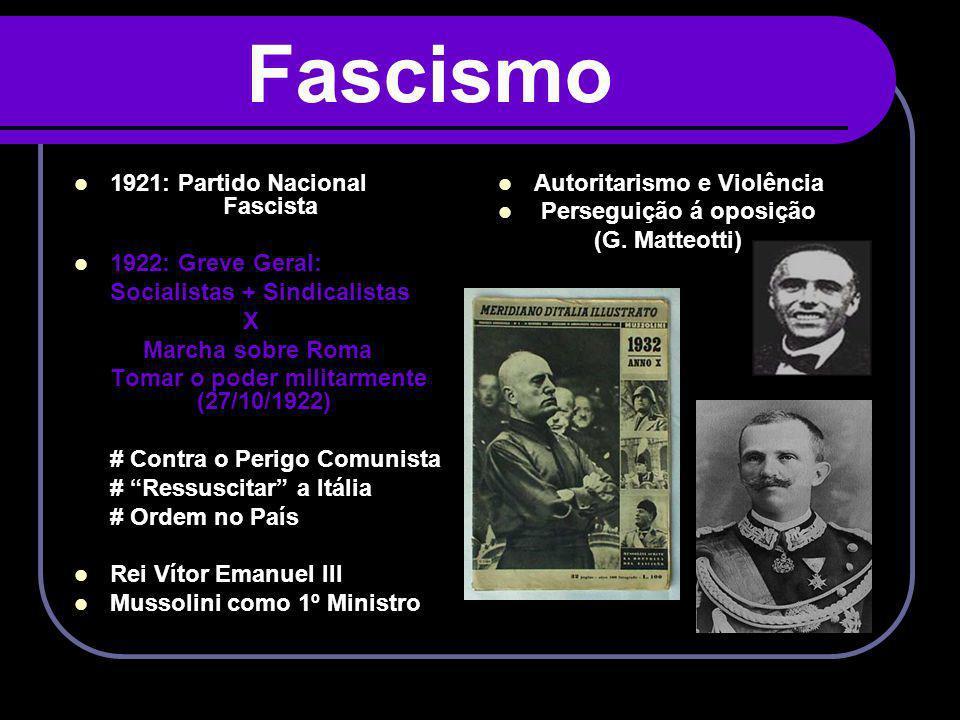 Fascismo 1921: Partido Nacional Fascista 1922: Greve Geral: