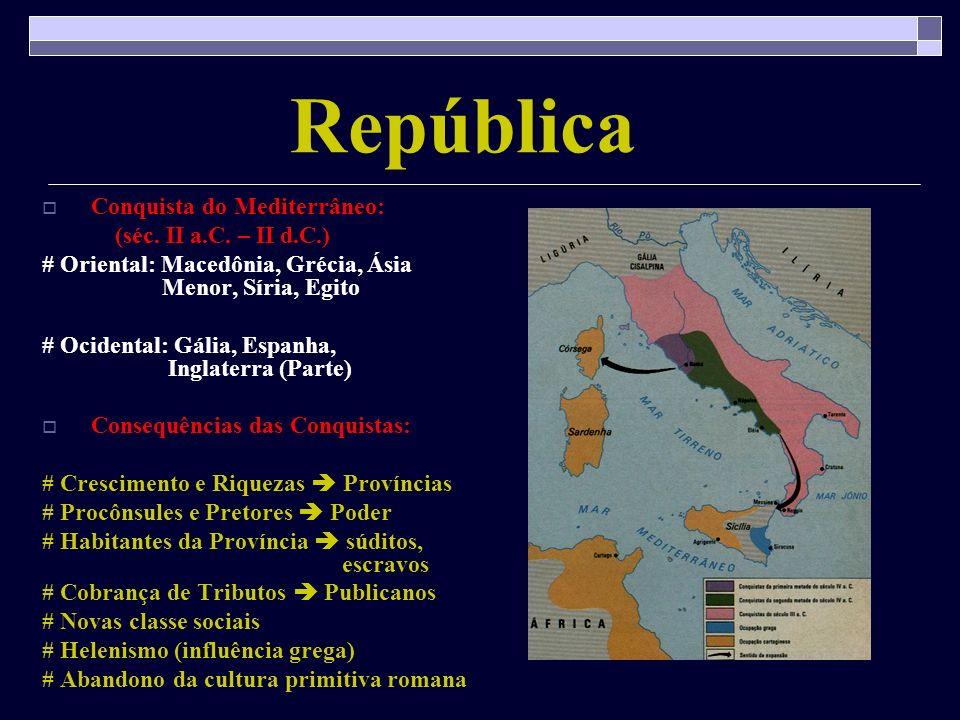 República Conquista do Mediterrâneo: (séc. II a.C. – II d.C.)