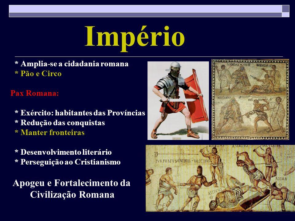 Império Civilização Romana * Amplia-se a cidadania romana