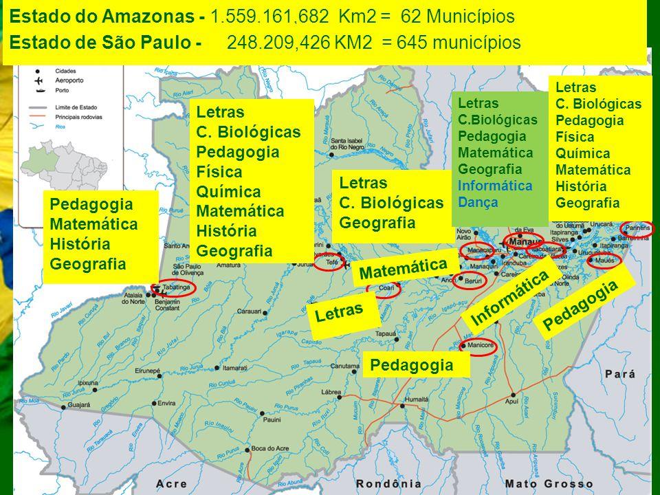 Estado do Amazonas - 1.559.161,682 Km2 = 62 Municípios