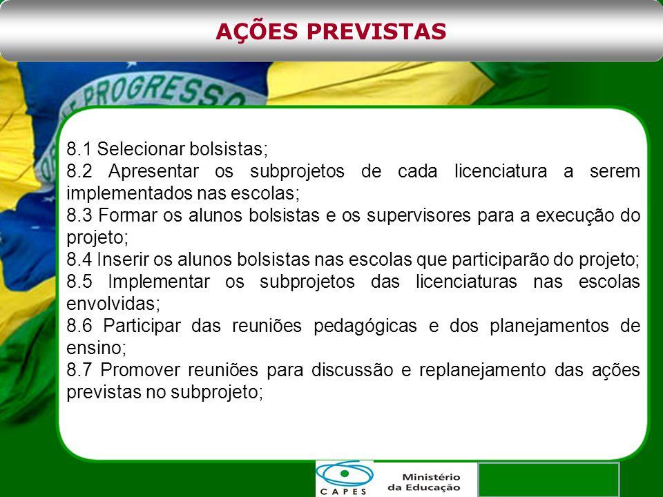 AÇÕES PREVISTAS 8.1 Selecionar bolsistas;