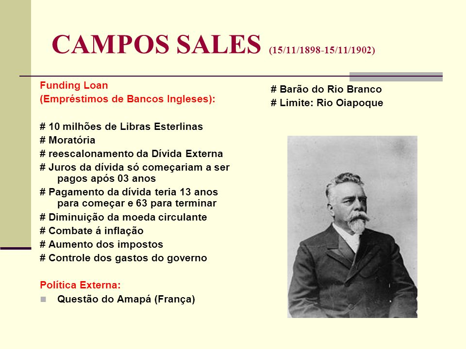 CAMPOS SALES (15/11/1898-15/11/1902) Funding Loan