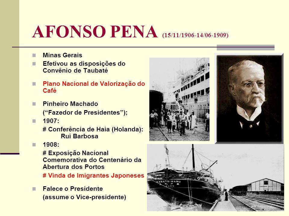 AFONSO PENA (15/11/1906-14/06-1909) Minas Gerais