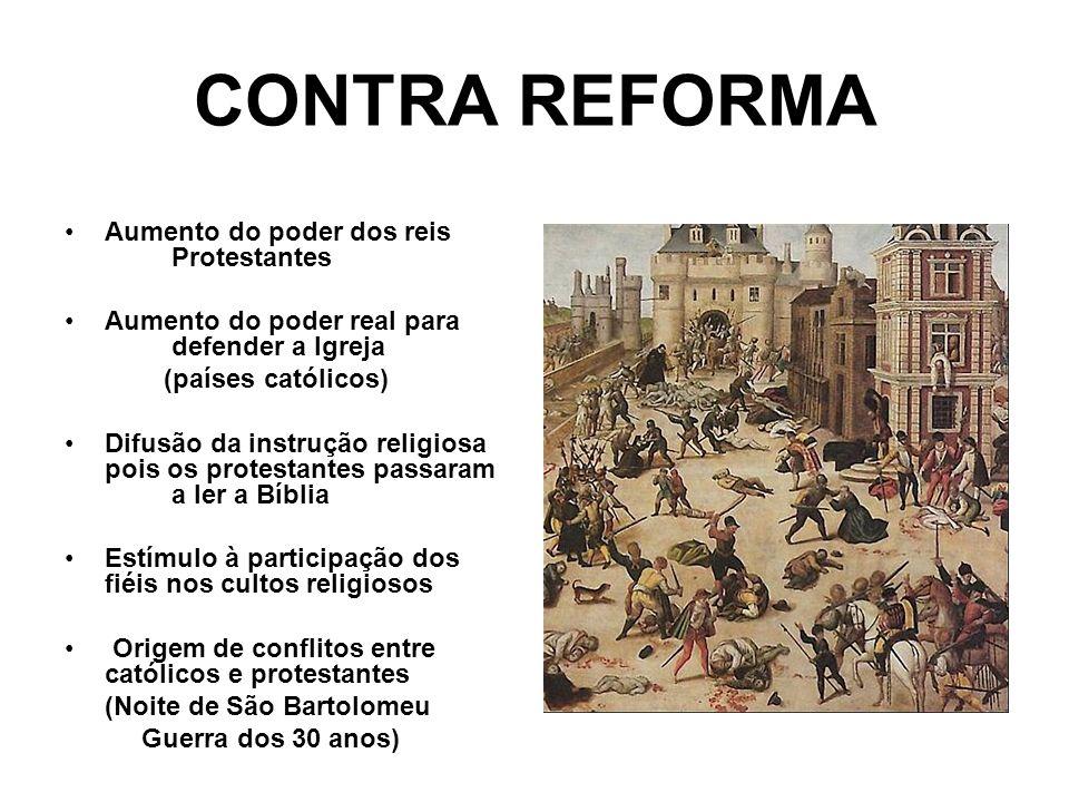 CONTRA REFORMA Aumento do poder dos reis Protestantes