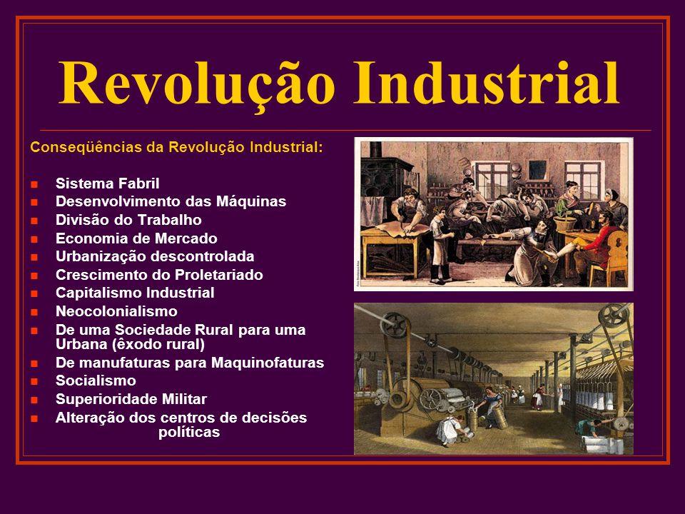 Revolução Industrial Conseqüências da Revolução Industrial: