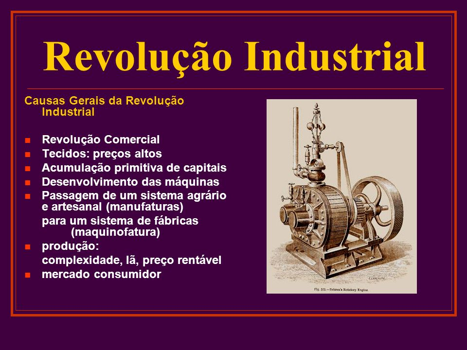 Revolução Industrial Causas Gerais da Revolução Industrial