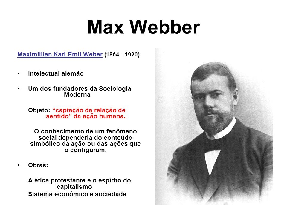 Max Webber Maximillian Karl Emil Weber (1864 – 1920)