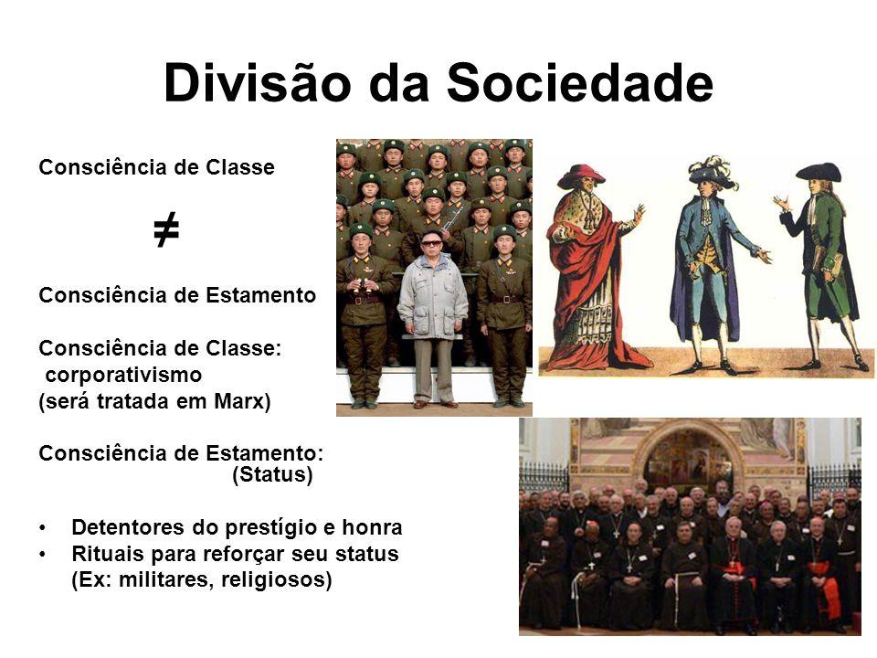 Divisão da Sociedade ≠ Consciência de Classe Consciência de Estamento
