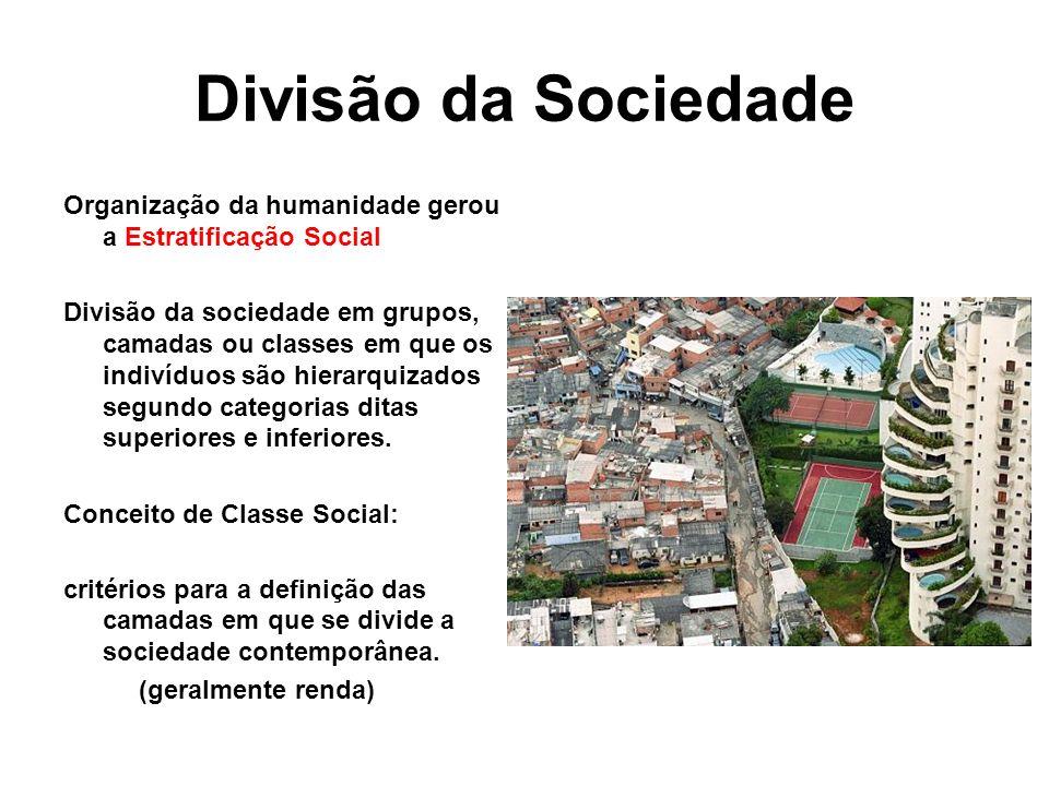 Divisão da Sociedade Organização da humanidade gerou a Estratificação Social.
