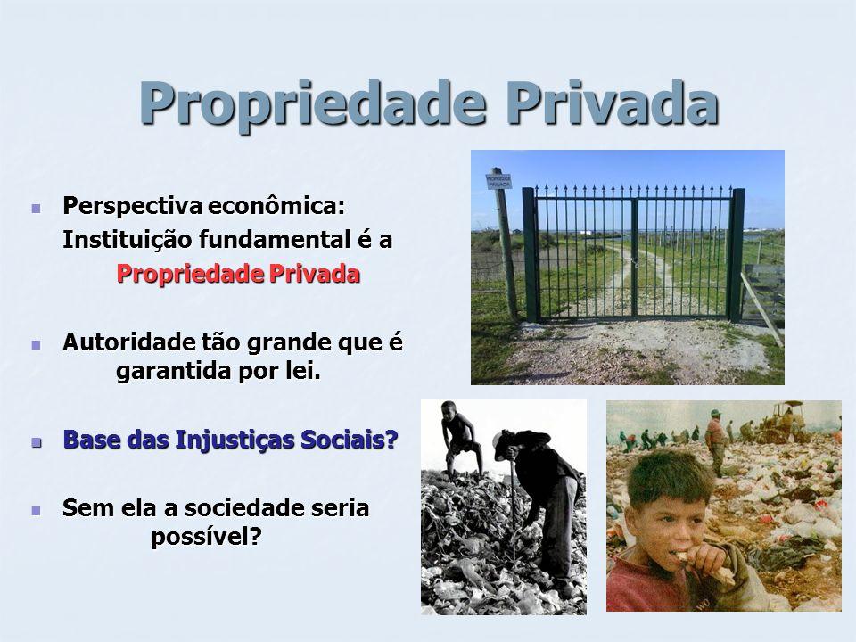 Propriedade Privada Perspectiva econômica: Instituição fundamental é a